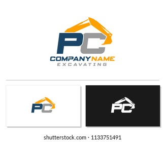 Initial P C excavator logo concept vector with arm excavator template vector.