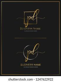Initial P D PD handwriting logo vector. Letter handwritten logo template.
