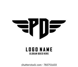 Initial P & D wing logo template vector