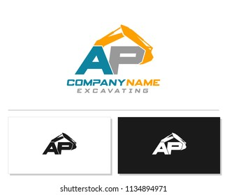 Initial A P excavator logo concept vector with arm excavator template vector.