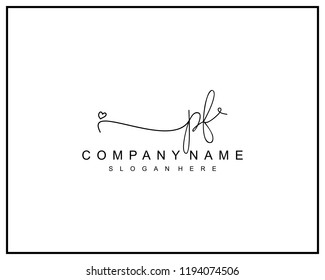 Initial P F handwriting logo template vector