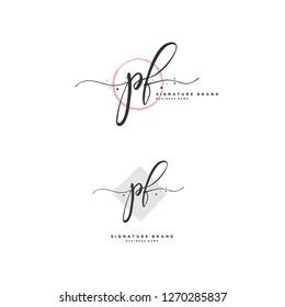 Initial P F PF handwriting logo vector. Letter handwritten logo template.
