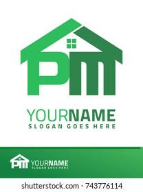 Initial P & M real estate logo template vector