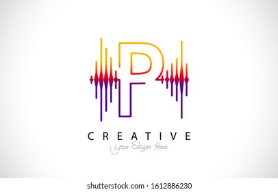 Initial P Modern Design Logo Concept. Creative Icon Logo with Sound Wave Vector Illustration.