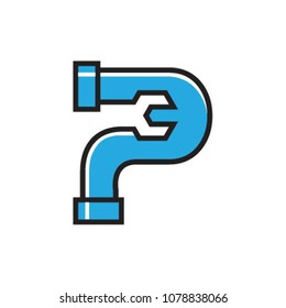 Initial P for Plumbing Service logo icon vector