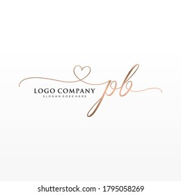 Initial PB beauty monogram and elegant logo design, handwriting logo of initial signature, wedding, fashion, floral and botanical with creative template.