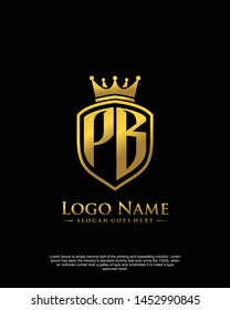 initial PB letter with shield style logo template vector