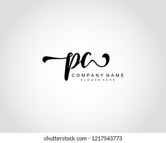 Initial PC handwriting logo vector