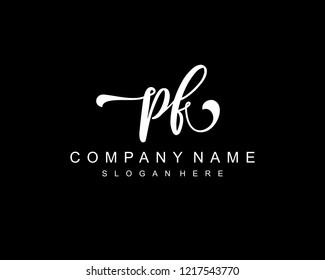 Initial PF handwriting logo vector