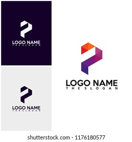 Initial PF logo vector, P logo template, Colorful logo