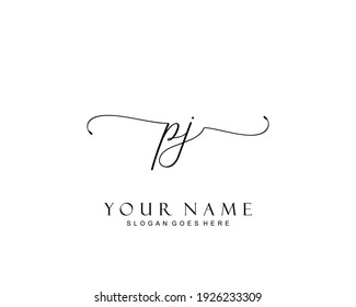 Initial PJ beauty monogram and elegant logo design, handwriting logo of initial signature, wedding, fashion, floral and botanical with creative template.