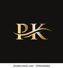 Initial PK letter linked logo vector template. Swoosh letter PK logo design. P K Logo design with modern trendy