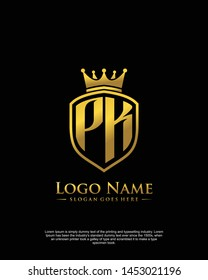 initial PK letter with shield style logo template vector