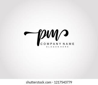 Initial PM handwriting logo vector