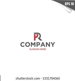 Initial PR Logo monogram design template. Simple elegant shape style modern logo.