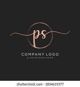 Initial PS beauty monogram and elegant logo design, handwriting logo of initial signature, wedding, fashion, floral and botanical with creative template.