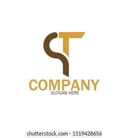 Initial PT Logo monogram design template. Simple shape style modern logo.