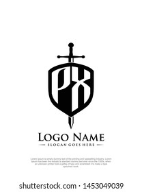 initial PW letter with shield style logo template vector