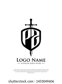 initial PZ letter with shield style logo template vector