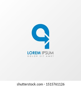 Initial q Letter Arrow icon logo design template element. Suitable for business, company group. Vector Illustration