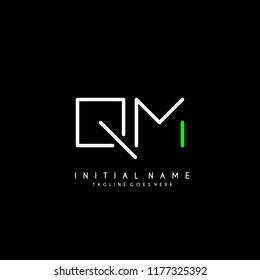 Initial Q M minimalist modern logo identity vector