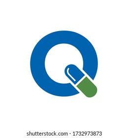 Initial Q Pill or Capsule Logo Design.  Alphabet Geometric Medicine Vector Graphic Icon