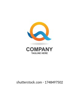 initial q with simple wave logo design vector, icon, element, template