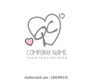 Initial QC with love logo template vector