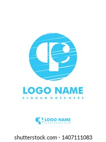 Initial QC negative space logo with circle template