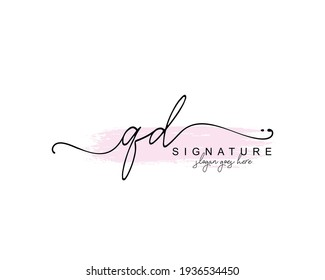 Initial QD beauty monogram and elegant logo design, handwriting logo of initial signature, wedding, fashion, floral and botanical with creative template.