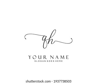 Initial QH beauty monogram and elegant logo design, handwriting logo of initial signature, wedding, fashion, floral and botanical with creative template.