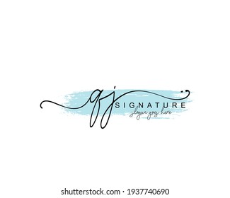 Initial QJ beauty monogram and elegant logo design, handwriting logo of initial signature, wedding, fashion, floral and botanical with creative template.