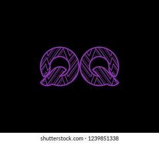 initial QQ letter zig zag dots pattern modern futuristic logotype