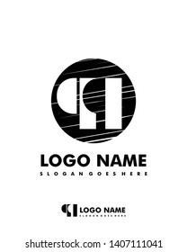 Initial QQ negative space logo with circle template