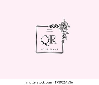 Initial QR beauty monogram and elegant logo design, handwriting logo of initial signature, wedding, fashion, floral and botanical with creative template.