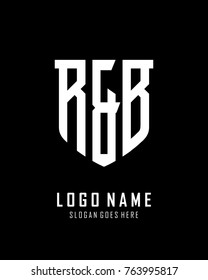 Initial R & B abstract shield logo template vector