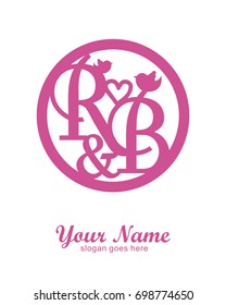 Initial R & B wedding logo template vector