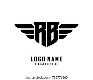 Initial R & B wing logo template vector