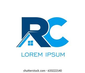 initial R C real estate logo vector