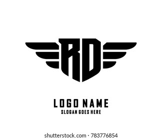 Initial R & D wing logo template vector