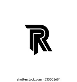 Initial R Isolated Letter Logo Black