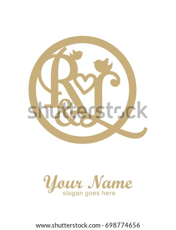 initial r l wedding logo template stock vector royalty free
