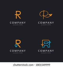 Initial R logo with travel elements in orange and blue color