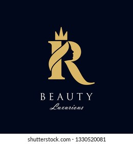 initial R luxury beauty queen woman face with crown logo design vector inspiration. consisting of letter R with lady face on negative space with crown