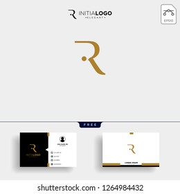 initial r luxury logo template vector illustration and business card design
