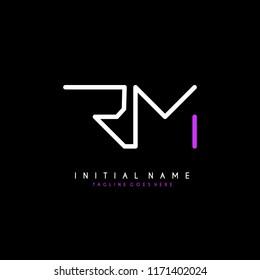 Initial R M minimalist modern logo identity vector