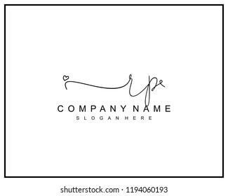Initial R P handwriting logo template vector