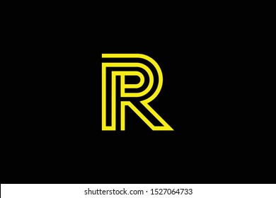 Initial R RR RP PR modern monogram and elegant logo design, Professional Letters Vector Icon Logo on black background.