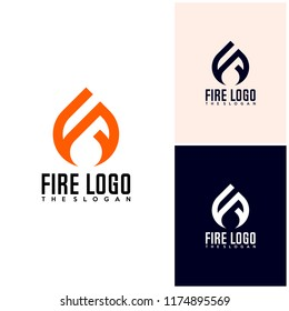 Initial R S F with Fire logo design vector, Fire icon simple logo design template