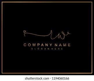Initial R W handwriting logo template vector